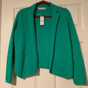Ann Taylor LOFT sweater blazer green NWT